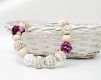 Crochet Nursing necklace, Organic Teething necklace , Baby wearing necklace, Mother's Day gift