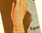 Vintage 1942 Mesh Gloves with Delicate Lace Scallop Cuff 958 PDF Digital Crochet Pattern