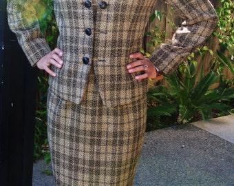 Vintage Designer Tailored Tweed Wool Jacket with Pencil Skirt by Linda Allard, Ellen Tracy