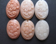 Peach Aventurine Oval Stone Carved Cabochon Bead, 16x24 mm Floral Pattern LONG DRILLED (1 piece) Range of colors