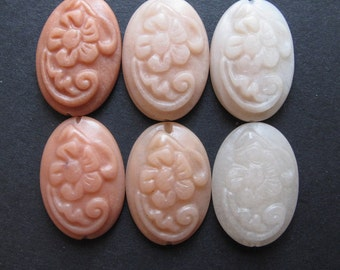 Carved Oval Cabochon Bead, Peach Aventurine 16x24 mm Floral Pattern LONG DRILLED (1 piece) Range of colors