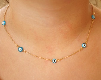Turquoise Evil Eye Necklace - Protection Necklace - Delicate Gold or Silver Chain - Boho Necklace - Summer Necklace