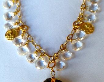 Diamond Vermeil Pendant Crystal Topaz Pear Briolettes 24K Vermeil Charms Gold Filled Chain Necklace