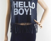 HELLO BOY! T shirt Text Shirt Women T Shirt Crop Top Bleached Black Tshirt Screen Print Size M