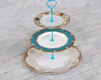 Heirloom: Wedding Table Decoration, 3 Tier Cake Stand, Vintage China Stand, Lace, Turquoise, Gold, Lace