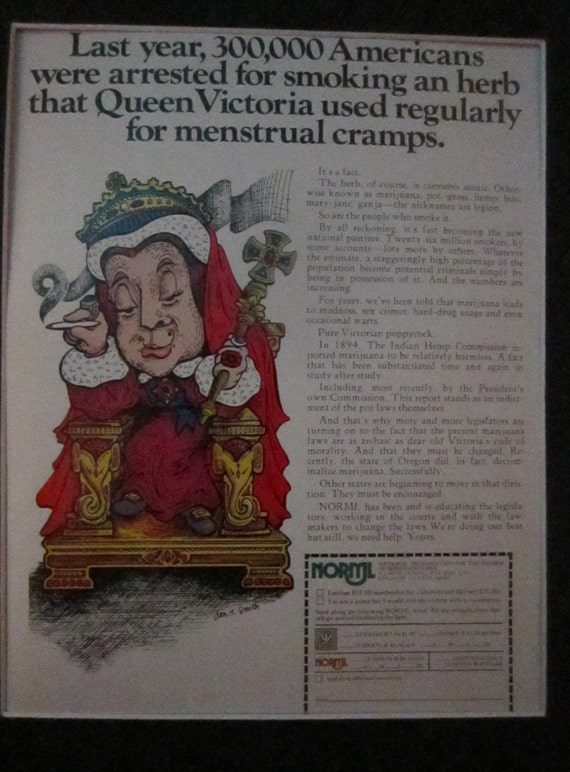 1975 NORML Advertisement from Playboy featuring Queen Victoria Smoking Marijuana.