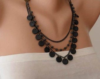 Black and Dark Gray Necklace with Wooden Beads- Speacial Design