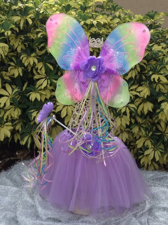 Rainbow Fairy Princess Wings, Wand and Purple Tutu Sets with matching flowers Party Favors