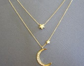 Mother daughter, I Love You To The Moon And Back Necklace, Star and Crescent Moon Necklace, Double Layered Necklace, Layer necklace