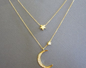 Moon Necklace, 18k Vermeil Crescent Moon Necklace,  I Love You To The Moon And Back, Star Necklace, gift for mom, Layered Necklace, muse411