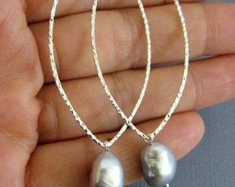Long Silver Hoop earrings, Silver Grey Freshwater Pearl earring, Bridesmaid Jewelry, Long hoop, dangle earrings, Bridesmaid earrings