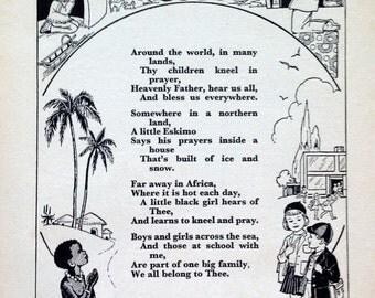 1950s A PRAYER for all CHILDREN Christian Poem Rhyme