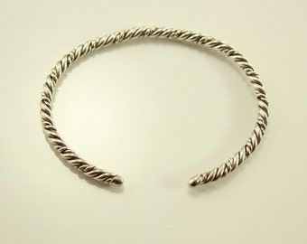 Vintage Sterling Silver Twisted Wire Cuff Bracelet no 7