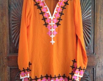 Short caftan tunic top chiffon embroidered kurti