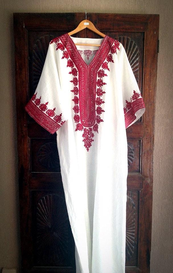 Kaftan White Linen Caftan Long Maxi Dress