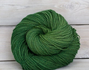 Altair - Hand Dyed Superwash Merino Wool Nylon Tencel Fingering Sock Yarn - Colorway: Moss