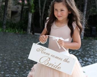 Wedding Sign, Here Comes The Bride Wedding Sign, Flower Girl Sign, Photo Prop Wedding Sign, Laser Engraved Sign