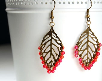 Red Autumn Leaf Filigree Earrings - Antique Brass and Glass