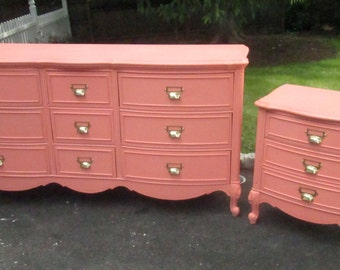 Vintage French Provincial Dresser in Coral with Brass Label Holder Drawer Pulls