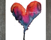 Reaerved for Abby: Orange Heart - Print of Watercolor Painting - Pink, red, orange, blue