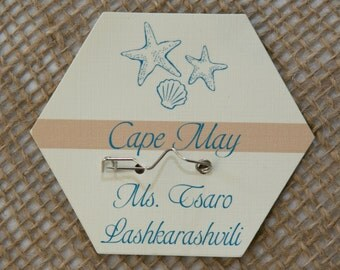 BEACH BADGE Escort Card or Beach Party Place Card - You Personalize Names, Motifs and Colors