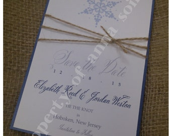 Save the Date - WINTER Wedding with Snowflake and Twine - Personalized choose your paper color, ink color, fonts, motif