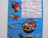 French vintage 1967 calendar tea towel - shells, sea, beach 1960s kitchen towel, blue yellow red