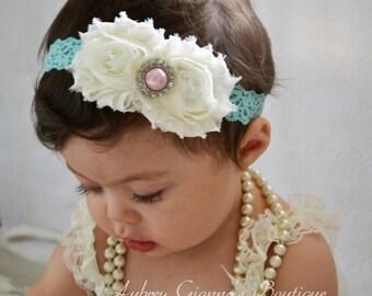 Baby Headband, Ivory and Aqua Headband, Toddler Headband, Newborn headband, baby hair bow, Newborn photo prop, hair accessories.