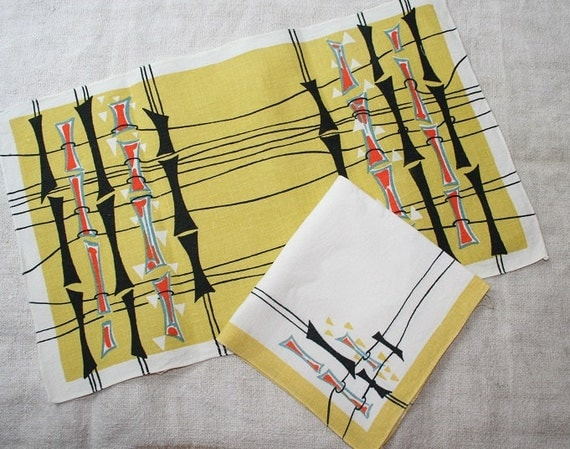 1950s table linen napkin & placemat set - stylised bamboo in black, orange, teal on yellow/white