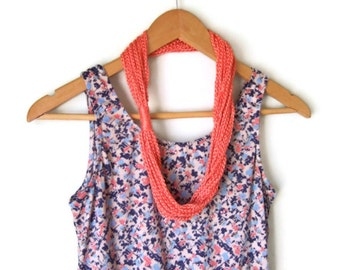 Coral Scarf Necklace .. Silk Scarf .. Crochet Lariat .. Silk Infinity Scarf .. Eternity Scarf .. Statement Necklace .. Indie Clothing ..
