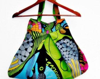 Tote bag , recycled fabric , market bag, reuseable grocery bag, beach bag, shoulder bag