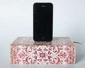 Floral Scrolls Red iPhone iPhone 5, iPhone 5S, iPhone 6 - Book Box - Hidden Storage Book Dock