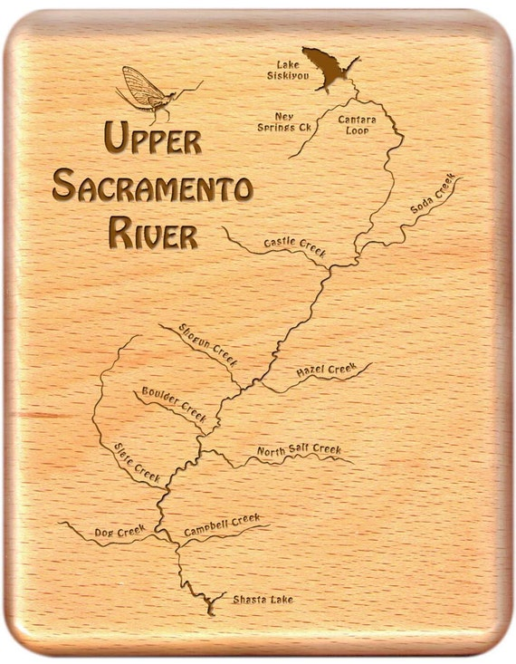 Upper sacramento river map fly fishing fly box custom for Fishing store sacramento