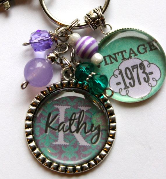 BIRTHDAY GIFT Personalized Vintage 40th Birthday Keychain Name