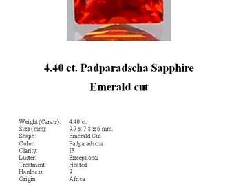 Synthetic Sapphire - Stunning 4.40 Carat Hot Orange/Padparadscha Emerald Cut Synthetic Sapphire...