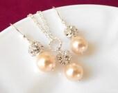 peach bridesmaid jewelry set, peach pearl jewelry, bridesmaid necklace earrings set,bridesmaid jewelry,peach wedding jewelry, bridal jewelry