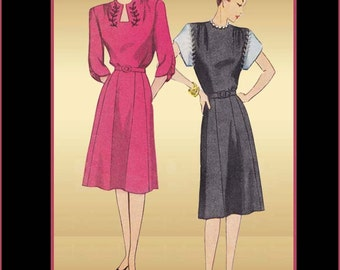 Simplicity 1780 1940s Dress Pattern Vintage Woman's Day Dress or Evening Wear Unused Pattern Bust 34