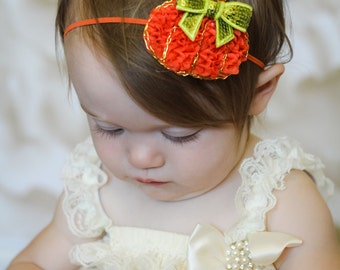 Fall Headband, Orange Pumpkin Baby Headband, Baby Headband, Infant Headband, Newborn Headband, Shabby Chic Headband, Fall Headband