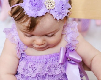 Lavender Baby Headband, Infant Headband, Newborn Headband , Lavender Headband, Shabby Chic Headband Lavender Headband, Purple Headband