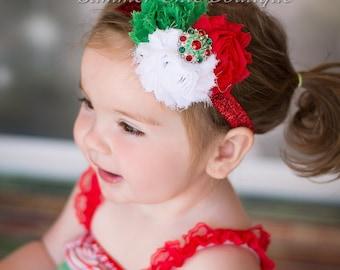 Christmas Headband, Baby /Headband, Infant headband, Newborn Headband,  Triple Rosettes with Rhinestone Center on skinny elastic