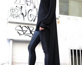 Black Asymmetrical Top / Long  Blouse Extra Long Sleeves  / Asymmetric Tunic Top A02038