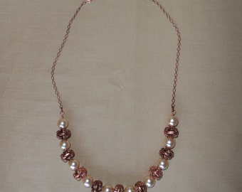 Pearl and Copper Bead Necklace