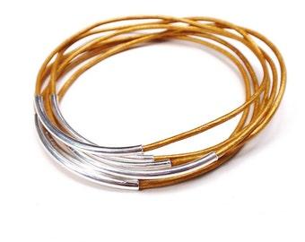 Gold Leather Bangle Bracelet, Leather Bracelets for Women, Leather Jewelry, Gold Bangle, Bangle Set, Leather BRacelets, Leather Bangle