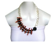 ADRIANA Red, sponge coral abstract asymmetrical necklace