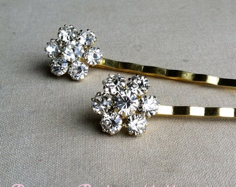 Gold Bridal Hairpins 2 pc, gold hairpin, wedding hair pin, hair accessory, bobby pin clear FLOWER RHINESTONE GOLD wholesale