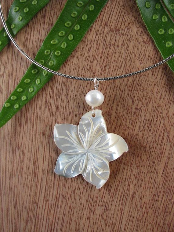 Plumeria Necklace Mother Of Pearl Plumeria Hawaii Flower
