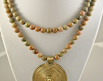 SALE - Double Strand Autumn Jasper Necklace with Gold Plated Pendant and Earrings