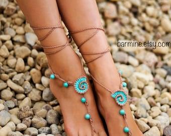 Beach wedding Seashells Tan and Aqua Crochet bridal Barefoot Sandals, Nude shoes, Bridal foot jewelry, Turquoise gemstone Anklet, Seashell