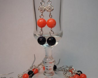 Navy and Coral Peach and rhinestone dangle silver earrings bridal wedding New Orleans inspired