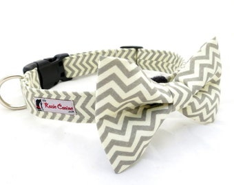 Cream & Grey Chevron Dog Collar ( Gray Dog Collar Only - Matching Bow Tie Available Separately)
